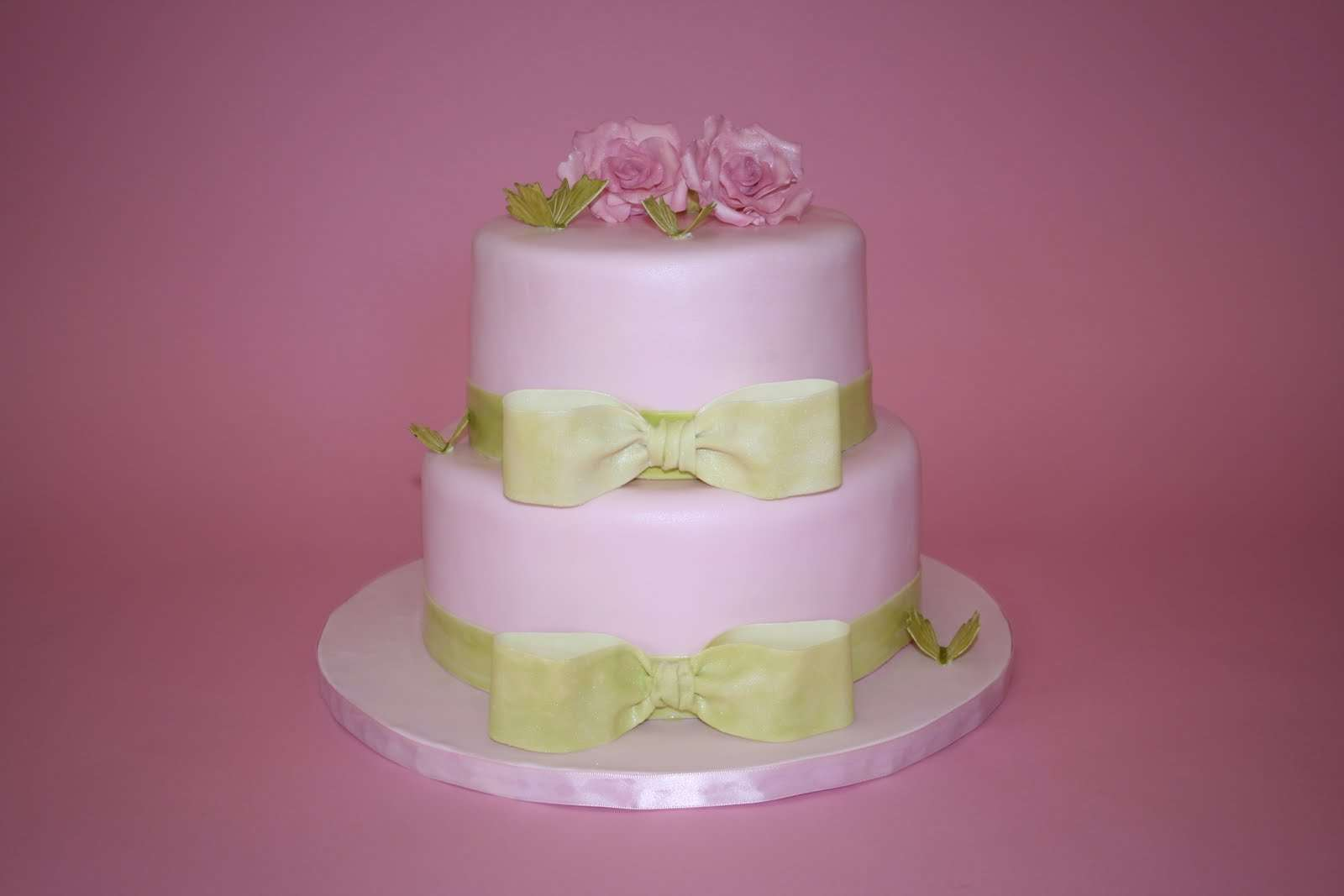 Pink Green Bridal Shower Cake
