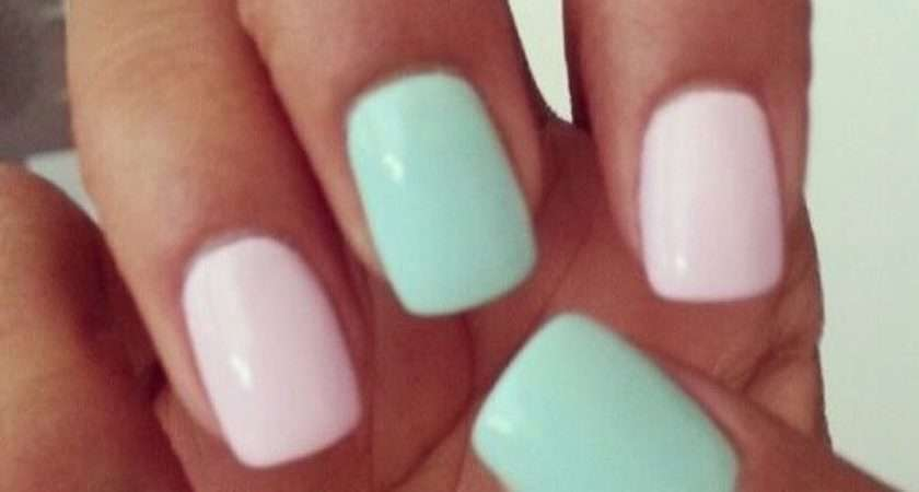 Pink Green Pastel Nails Photos