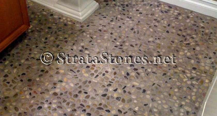 Polished Natural Mix Pebble Tile Bathroom Flooring