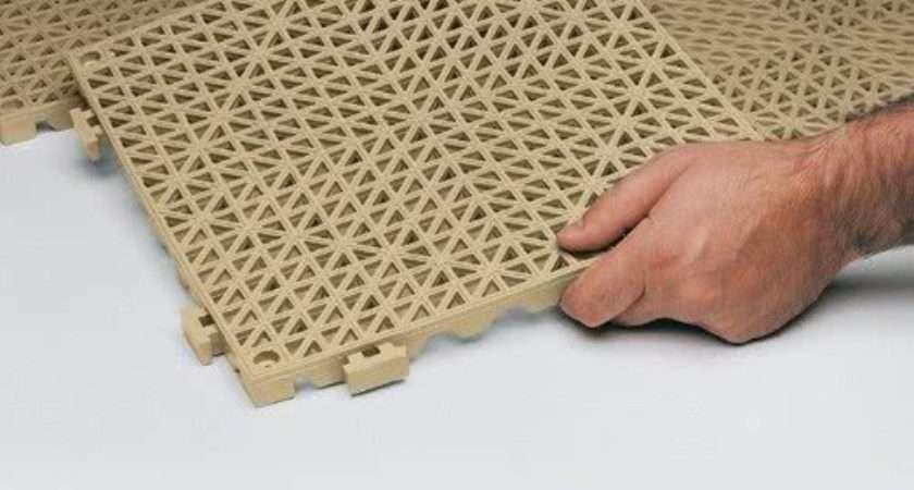 Poly Lock Tan Vinyl Interlocking Drainage Floor Tile