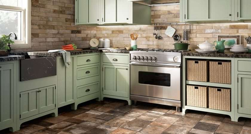 Porcelain Stoneware Floors Kitchen Country Style