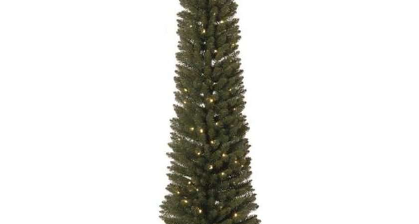 Pre Lit Green Pencil Artificial Slim Christmas Tree
