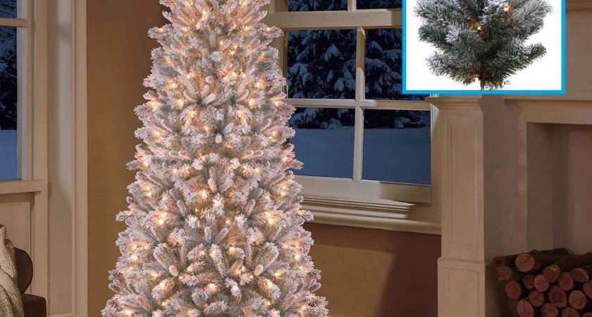 Pre Lit Slim Christmas Tree Flocked Snow Artificial