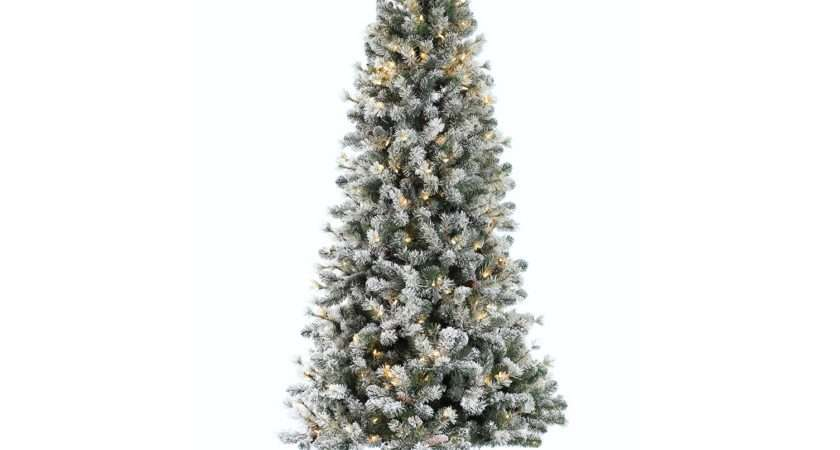 Pre Lit Snowy Cone Pine Slim Artificial Christmas