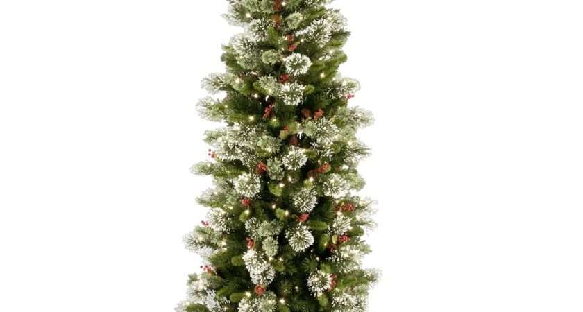 Pre Lit Wintry Pine Slim Artificial Christmas Tree