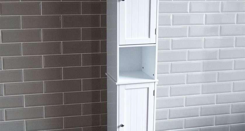 Priano Bathroom Tall Cabinet Double Doors Cupboard Storage