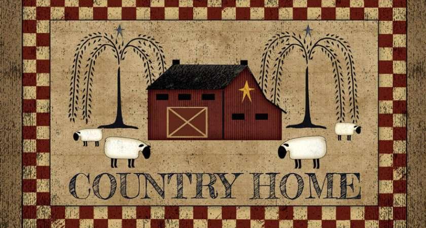 Primitive Folk Art Country Home Sheep Willow Tree Barn Floor Rug Mat