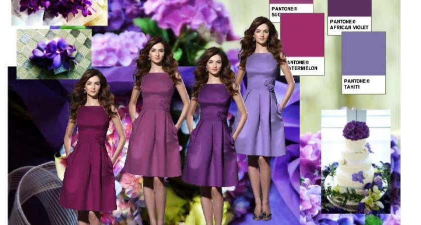Purple Color Scheme Pantone Wedding Styleboard Dessy Group