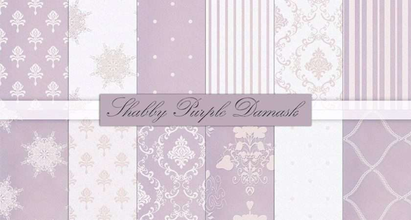 Purple Damask Digital Paper Shabby Chic