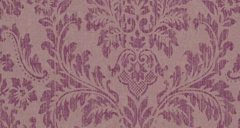 Purple Faux Worn Damask Shabby Chic Georgia