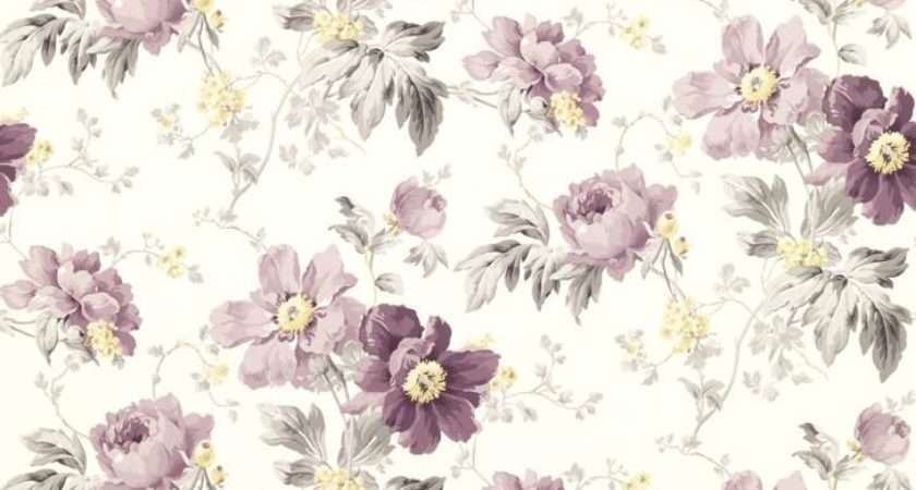 Purple Floral Shabby Chic Peony Garden