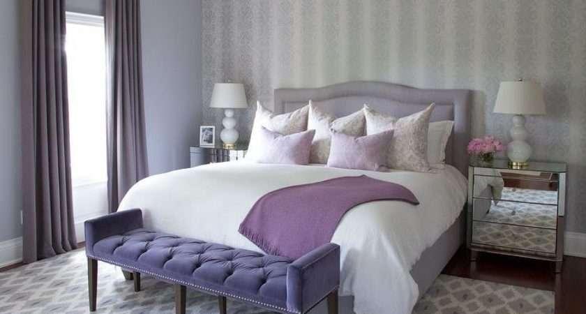 Purple Gray Bedroom Ideas Transitional