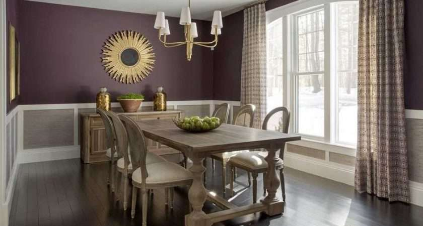 Purple Grey Dining Rooms Transitional Room