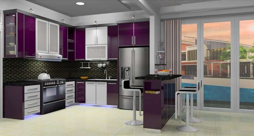 Purple Kitchen White Cabinets Cabinet