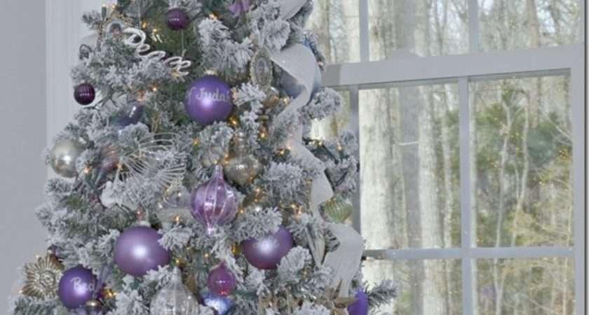 Purple White Silver Themed Christmas Tree Plum
