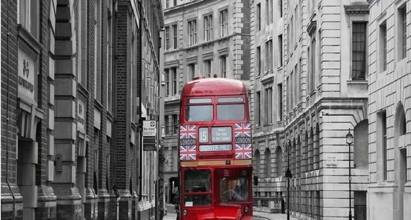 Rainbow London Red Bus Mural Giant Wall Decor