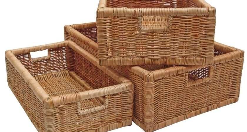 Rattan Storage Basket Long Shelf Drawer