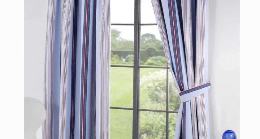 Ready Made Curtains Blue Stripe Curtain Menzilperde