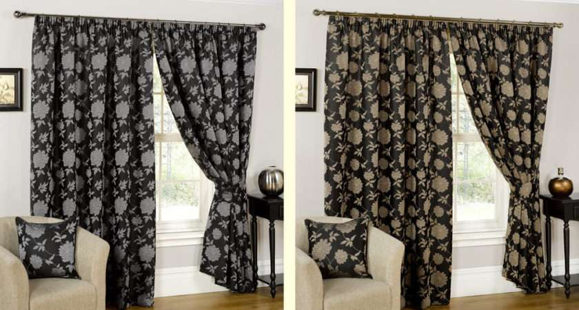Ready Made Fully Lined Black Gold Silver Designer Curtains