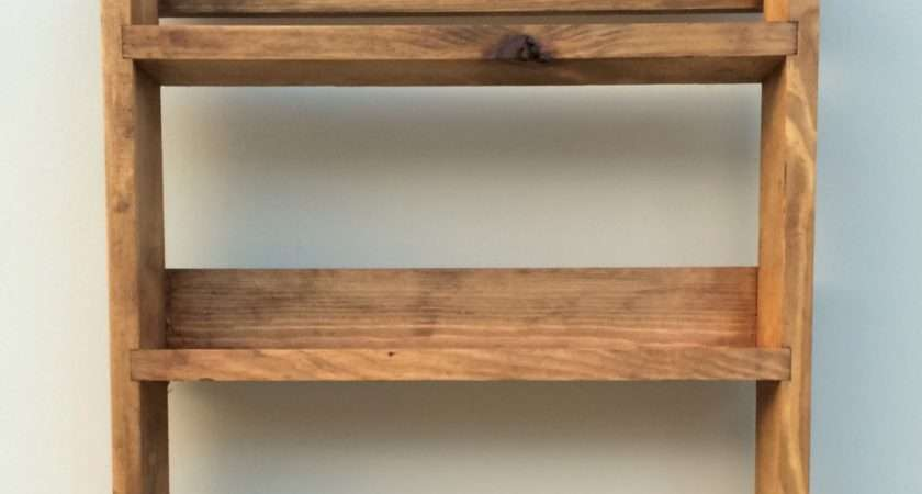 Reclaimed Rustic Wooden Spice Rack Shelves Tall Open