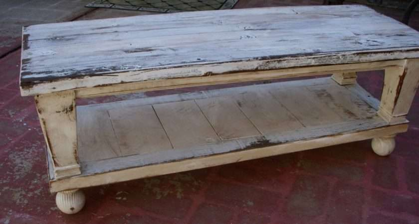 Reclaimed Wood Coffee Table Worn Cottage Look Perfect Legs