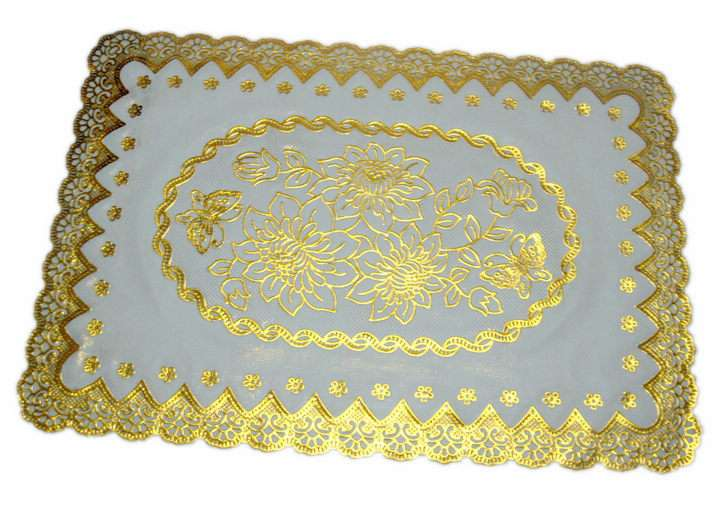 Rectangle Gold Print Beautiful Table Mat Mats Plastic