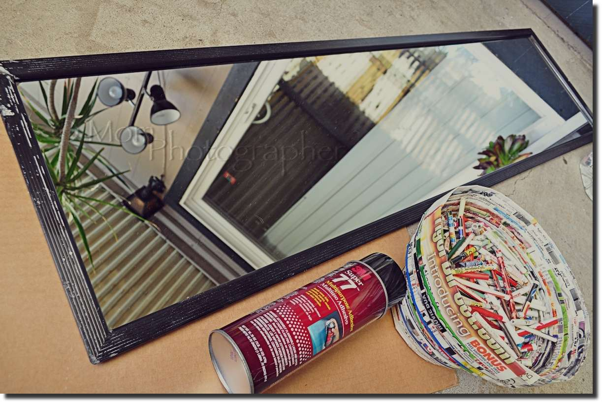 Recycled Magazine Mirror Frame Mom Photographer