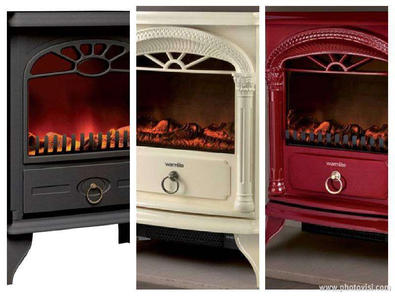 Red Black Cream Standing Electric Winter Xmas Stove Fire Heater