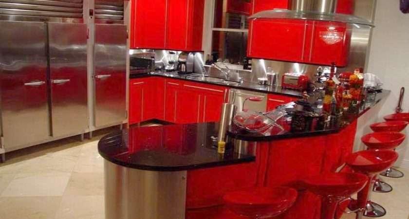 Red Black Kitchen Themes Home Design