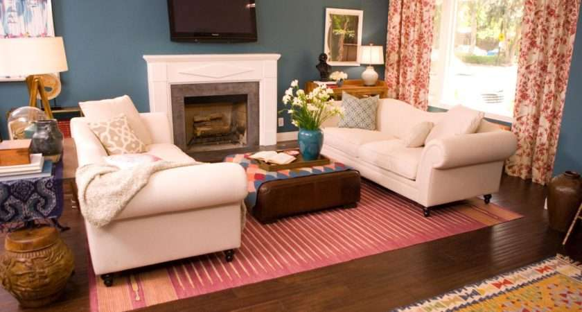 Red Blue Living Room Pretty Pink Rug