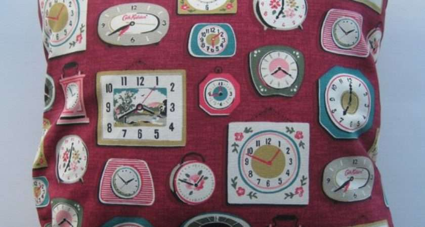 Red Clock Cushion Cover Cath Kidston Fabric
