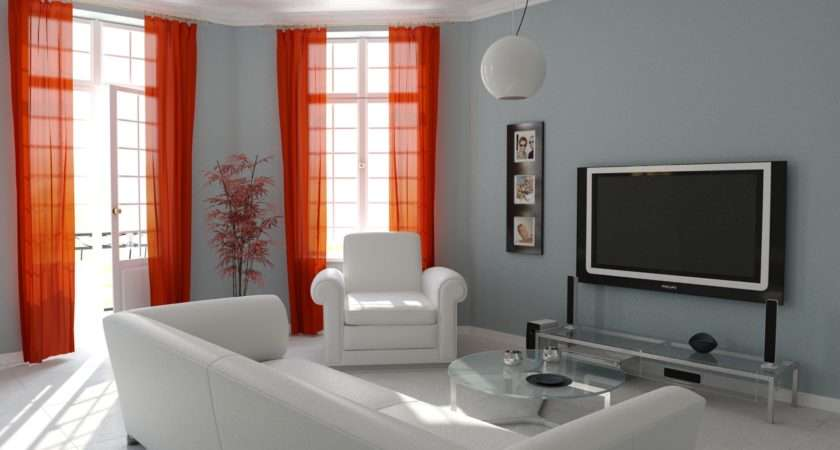 Red Curtain Living Room Classy Design Simple White Grey ...