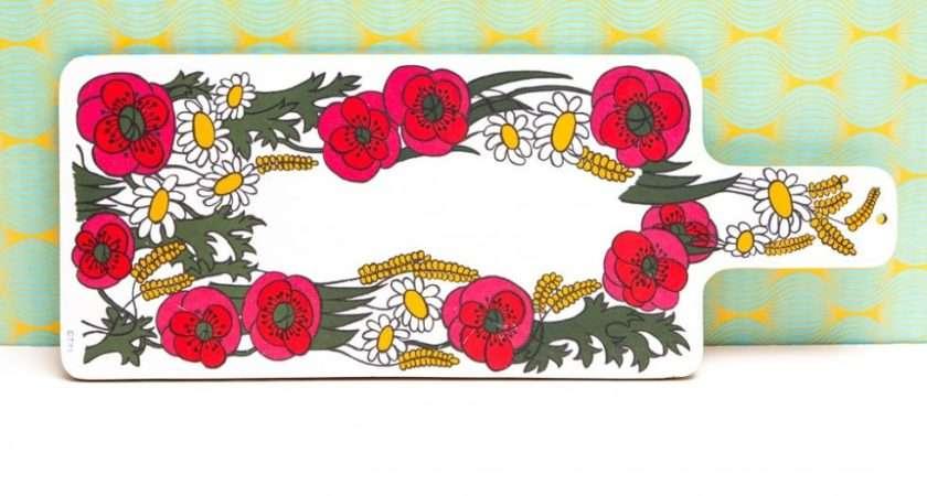Red Flower Melamine Chopping Board Vintage Shop Retro