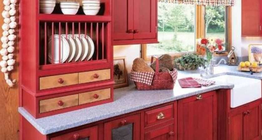 Red Kitchen Cabinets Modern Design Traba Homes