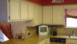 Red Kitchen Walls White Cabinets Oak