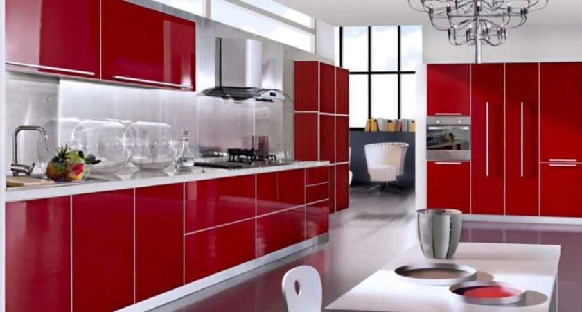 Red Lacquered Kitchen Cabinets China