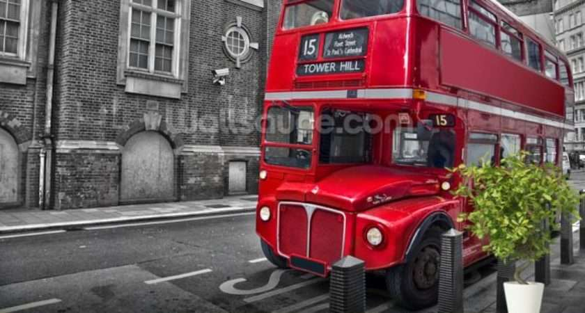 Red London Bus Wall Mural Wallsauce