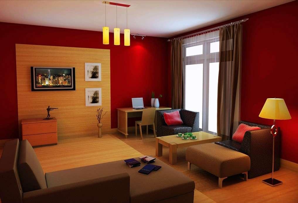Red Orange Design Living Room Villa Yellow
