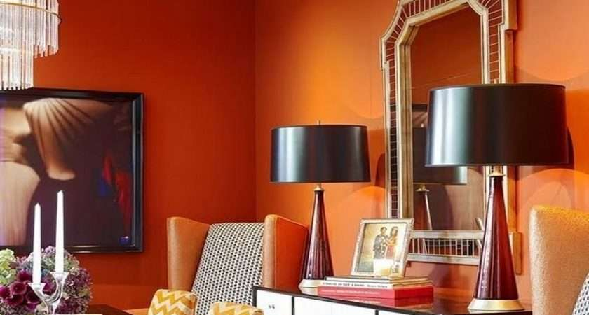 Red Paint Home Interior Orange Colors Living Room
