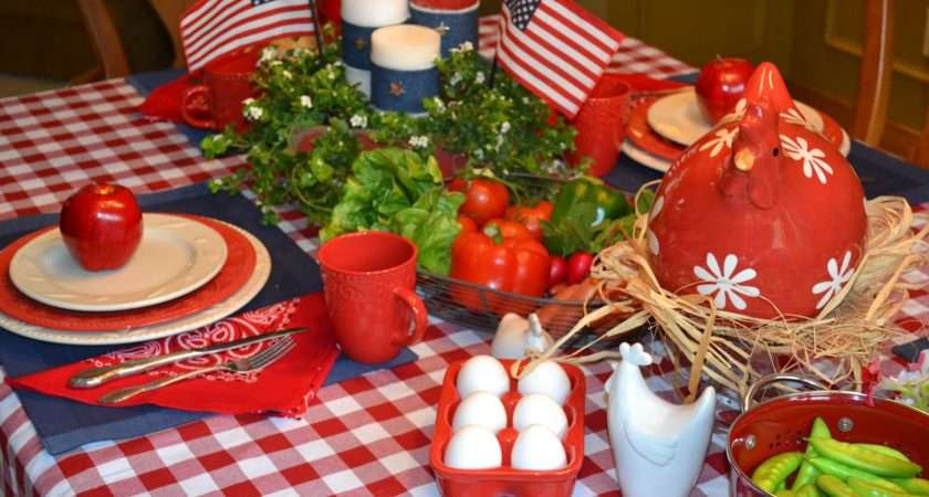 Red White Blue Gingham Tablecloth