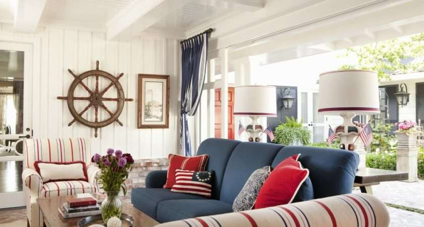 Red White Blue Porch Beach Style Coffee Table