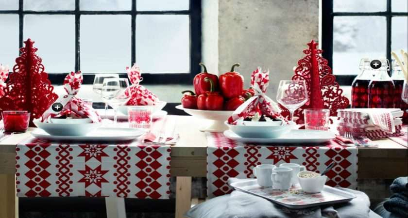 Red White Christmas Table Decorations Photograph