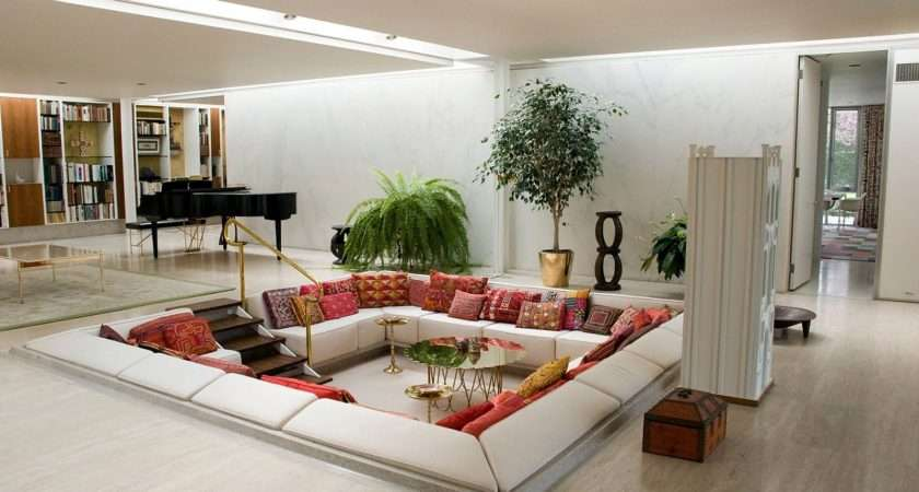 Red White Living Room Conversation Pit Creative Home Idea