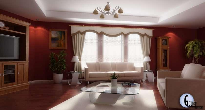 Red White Living Room Design