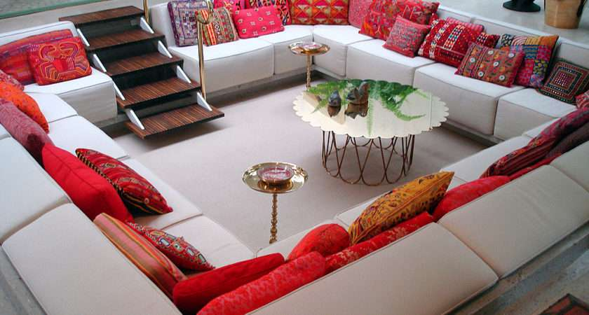 Red White Living Room Sunken Sitting Area Sofas Cushion Olpos Design