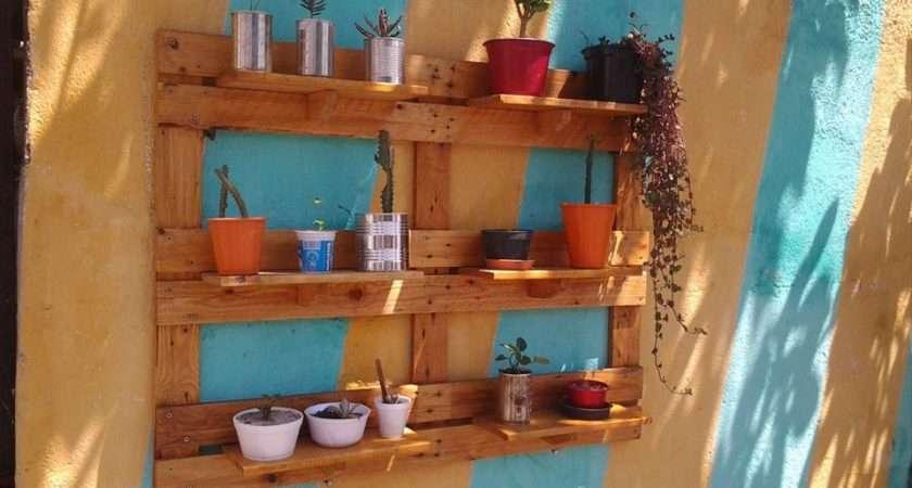 Repurposed Pallet Garden Shelving Unit