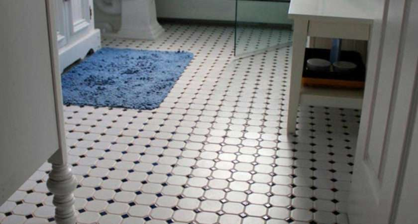 Retro Black White Bathroom Floor Tile Ideas