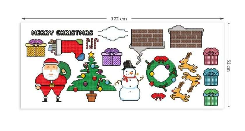 Retro Christmas Multipack Wall Stickers Hand Finished