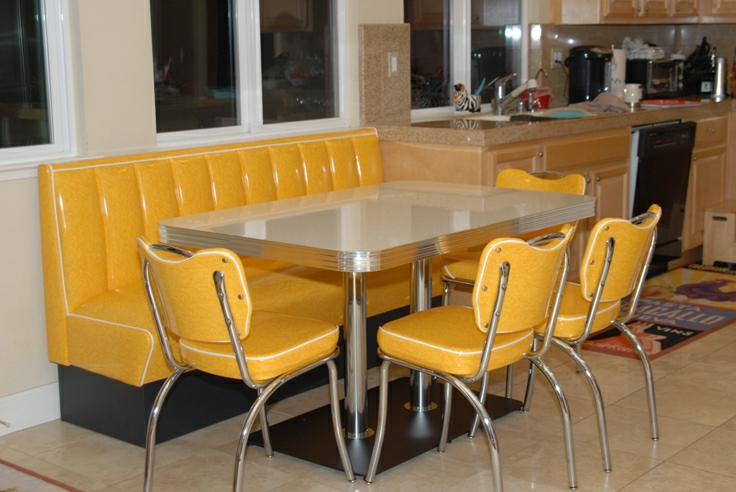 Retro Kitchen Booth Yellow Cracked Ice Chairs Table Home Seating