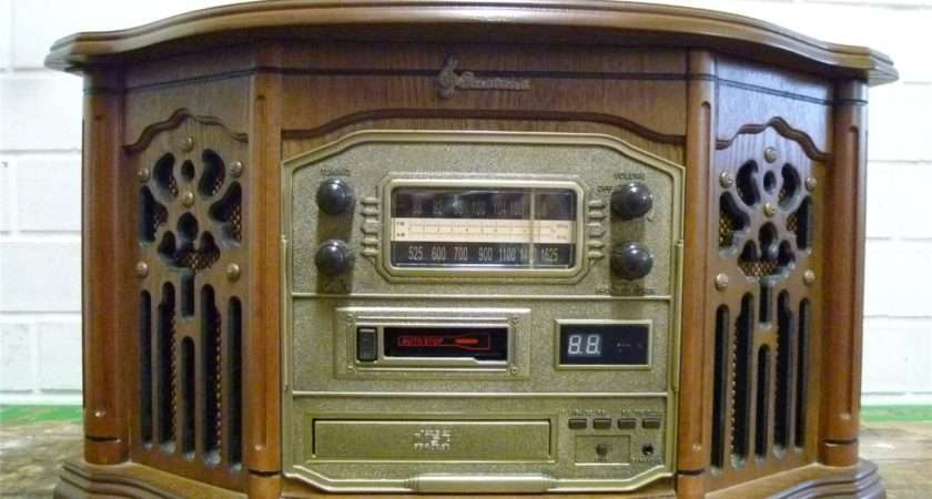 Retro Teak Vintage Style Record Player Radio Cassette